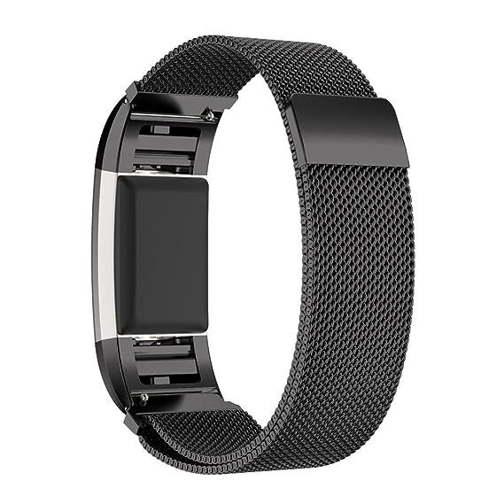 ☀️Modaworld Pulsera de reemplazo Pulsera de Correa de Reloj de Acero Inoxidable milanesa + Película HD para Fitbit Charge 2 (Plata): Amazon.es: Deportes y ...