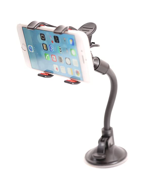 Review Mobile phone mount holder with suction cup - Multi-angle 360 Degree Rotating Clip Windshield Dashboard Smartphone soft tube Car Holder for Iphone 6 plus /6/5s/5c/5, Samsung Galaxy and Most Gadgets