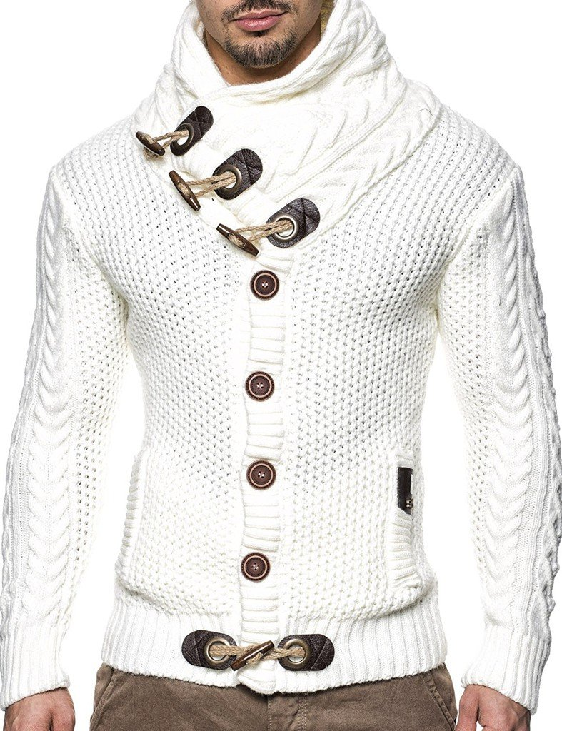 Leif Nelson LN4195 Men's Knitted Turtleneck Cardigan; Size US 3XL, White