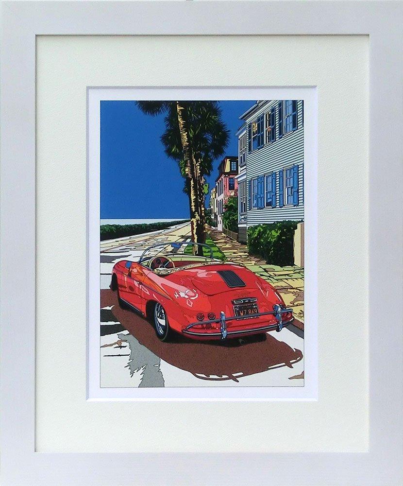 鈴木英人 ミニプリント シリーズ 「スピードスターと過ごす正午」 フレーム 付き B00WHHLP4Y