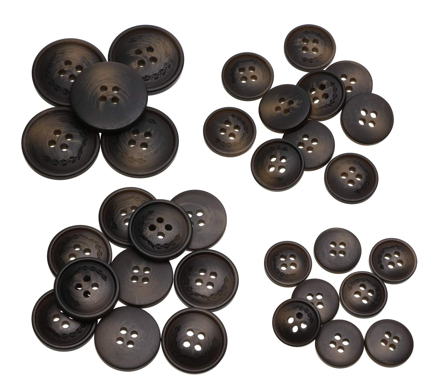 PENTA ANGEL 120Pcs Assorted Size Black Resin Round Buttons Set 4 Holes Flatback Snaps for Sewing Scrapbooking and Craft Ornament A-120PCS