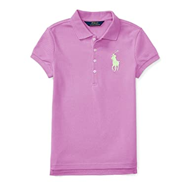 255fa73a52 Amazon.com: Ralph Lauren Baby Girls BIG PONY STRETCH MESH POLO: Clothing