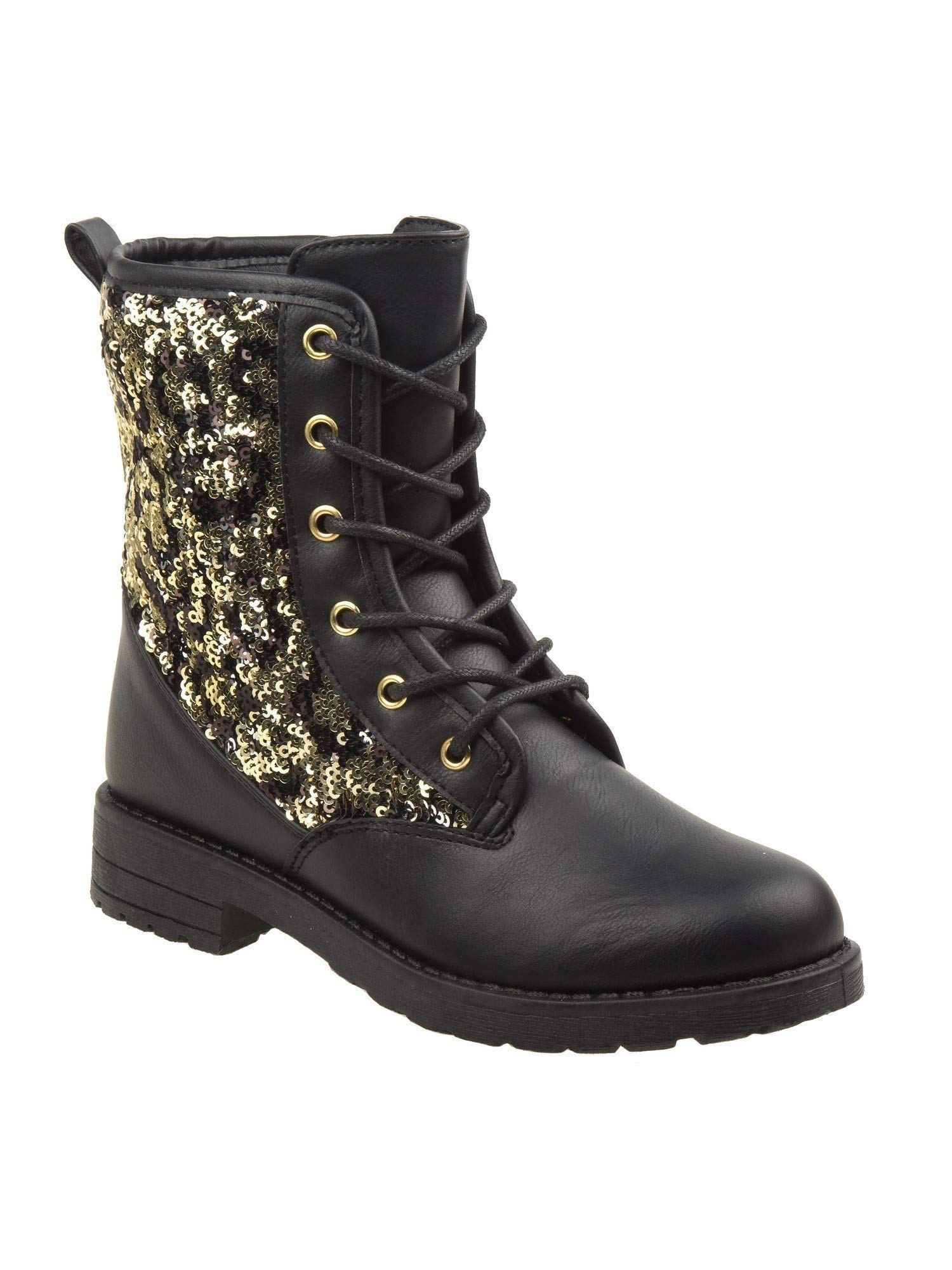 Kensie Girls Black Sparkle Sequined Panel Lace-Up Combat Boots 2 Kids
