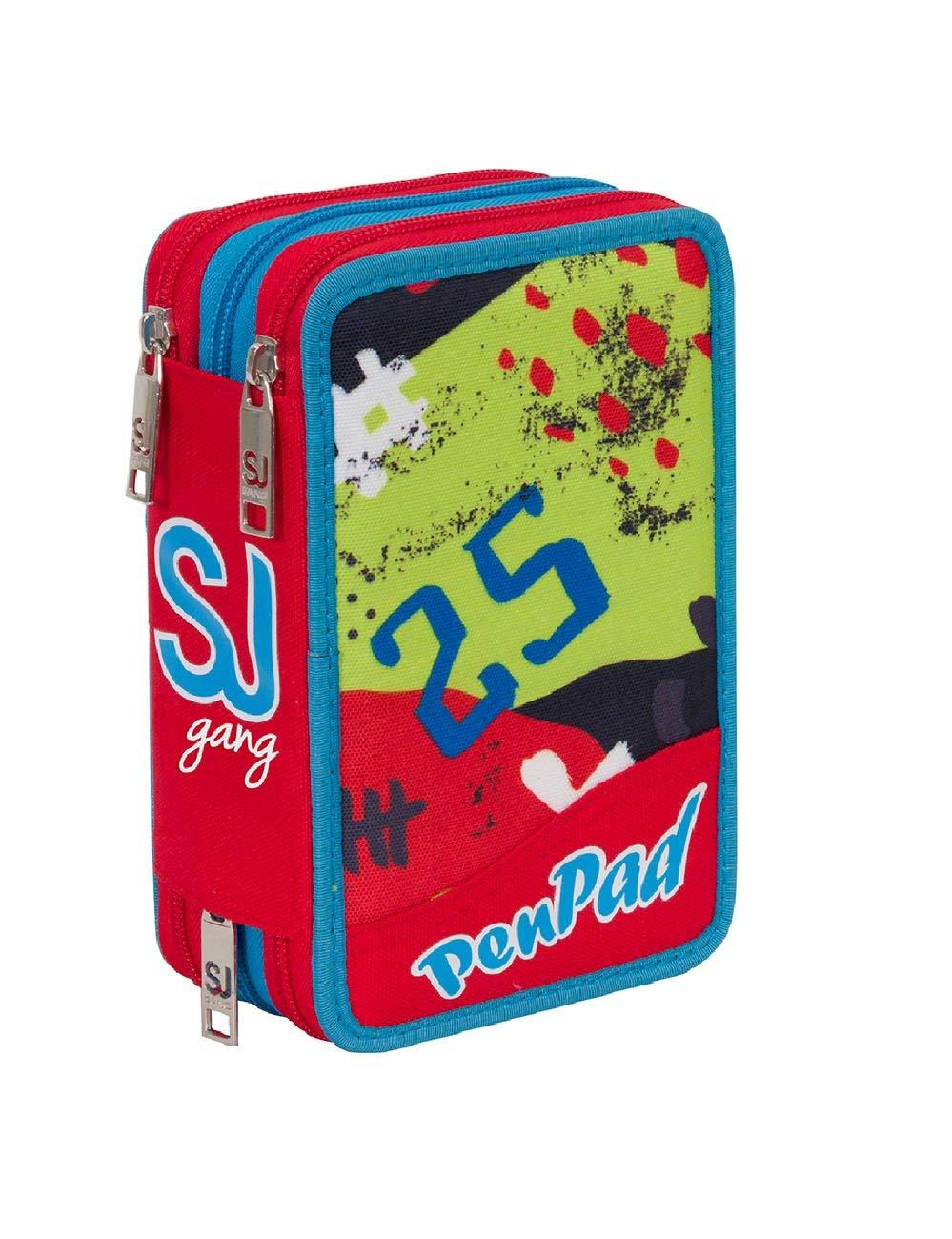 ASTUCCIO scuola SEVEN SJ GANG - HIGH TECH - 3 scomparti - pennarelli matite ecc.. Rosso Blu