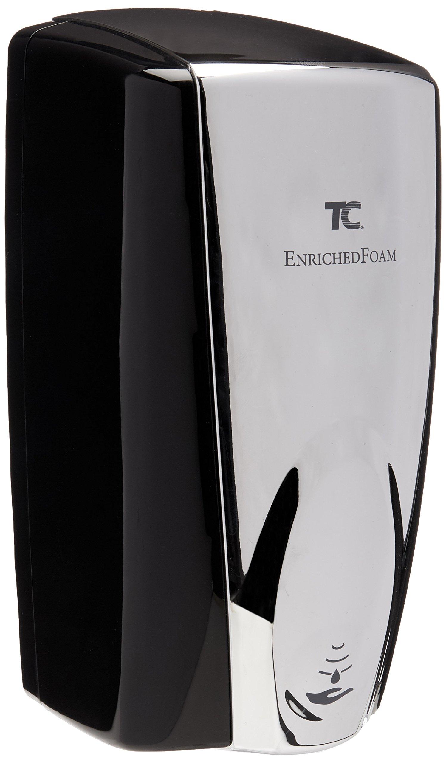 Technical Concepts #750411 Wall Mount Auto Foam Dispenser, 1100 mL, Black/Chrome, 5.25'' Length x 5.18'' Width x 10.86'' Height