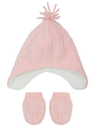 9e02d0340dc M Co Baby Girl Pale Pink Cable Knit Pom Pom Trapper Hat and Mitts Set   Amazon.co.uk  Clothing