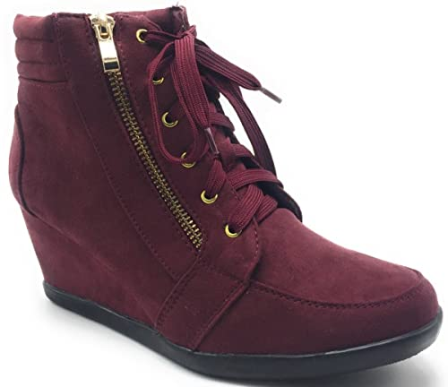 9f802abe7 Amazon.com | DEV Women's Forever Peggy Adriana Hidden Wedge Lace Up Side  Zip Accent Sneakers Boot Shoes | Boots