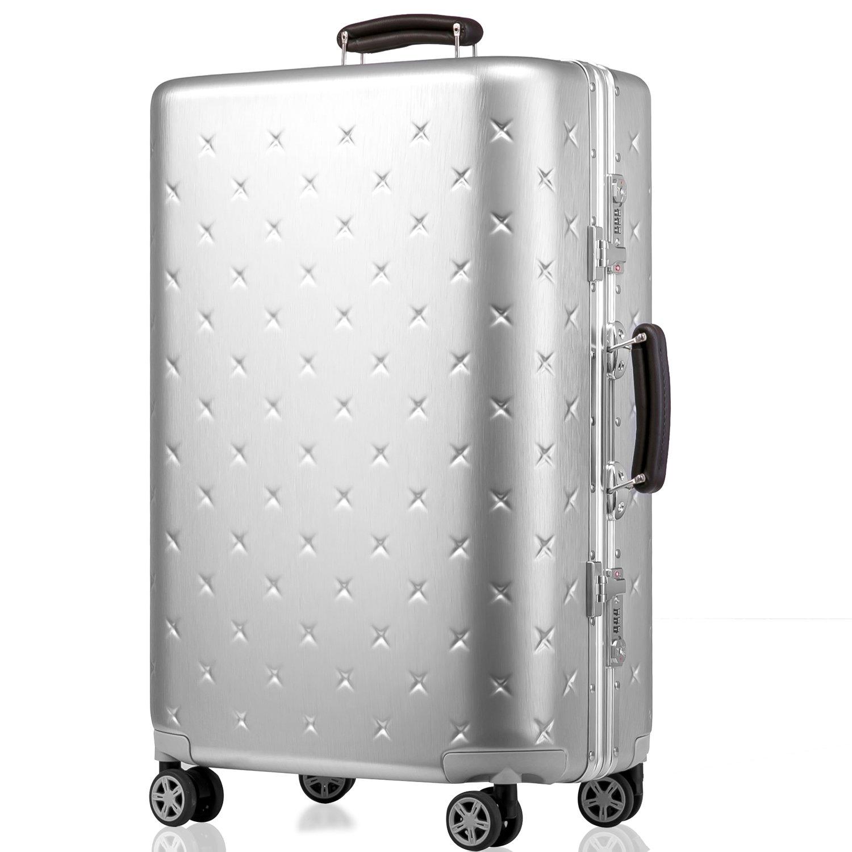(タノビ)TANOBI スーツケース キャリーケース キャリーバッグ 超軽量 小型 中型 大型 TSAロック搭載 旅行用品 YCL-909 B07335787D L|シルバー シルバー L
