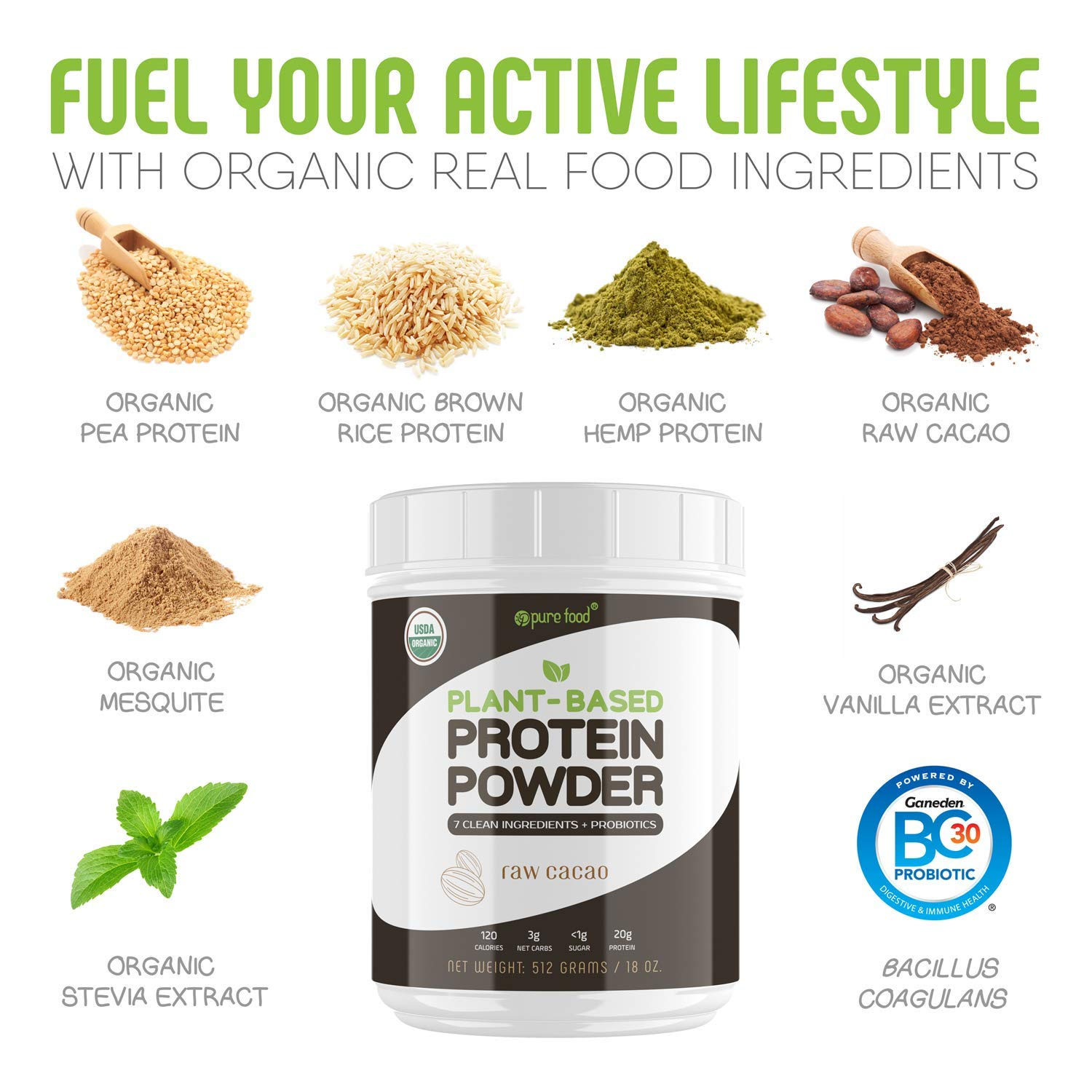 Pure Food: Plant Based Protein Powder with Probiotics | Organic, Clean, All  Natural, Vegan,