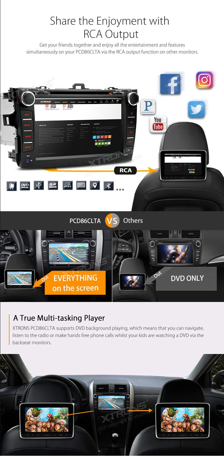 XTRONS 8'' Android 6.0 HD Digital Multi-touch Screen 1080P Video Car DVD Player Custom Fit for Toyota Corolla 2007-2011