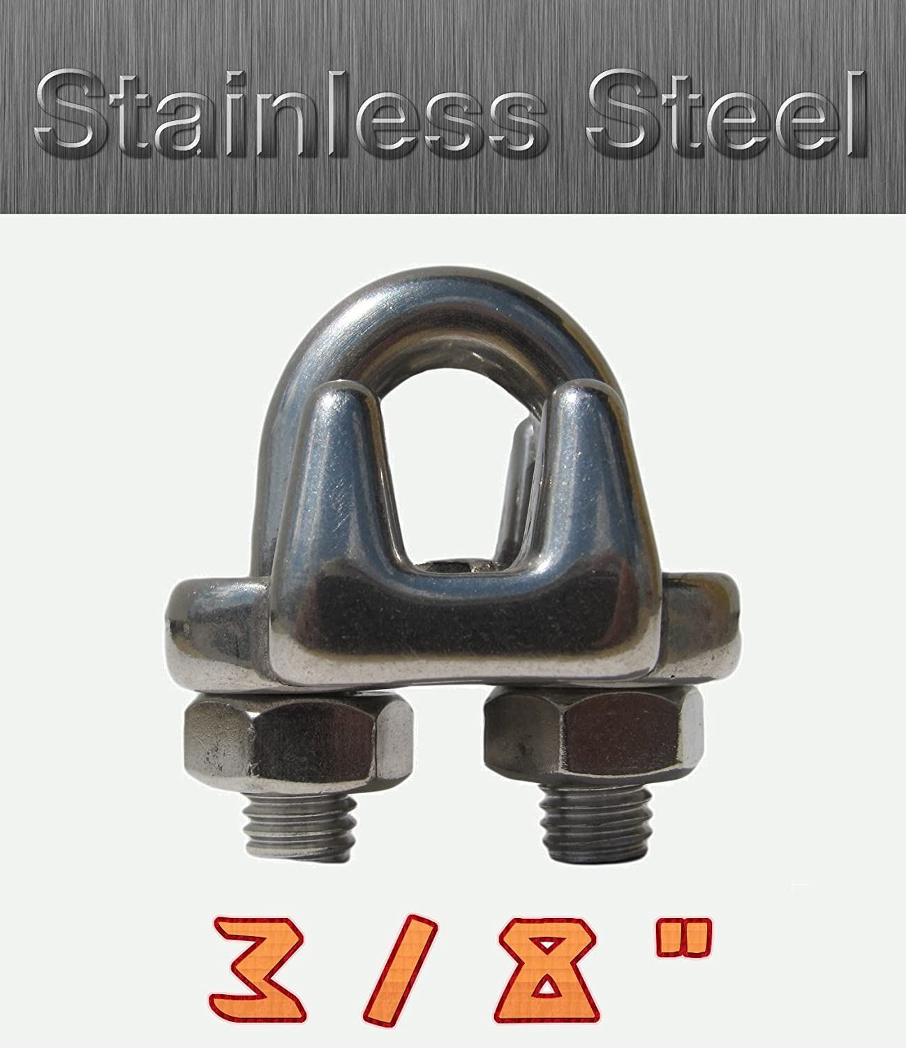 (10pcs) Wire Rope Clamp Clip Stainless Steel 316 For 3/8' Rope Diameter THINK_TRONIK