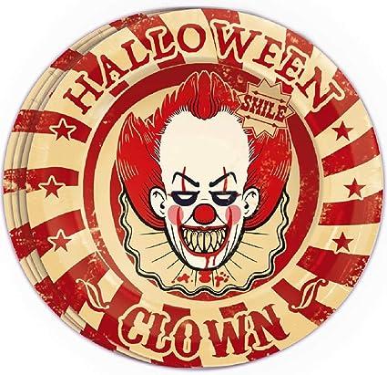Halloween Creepy Horror Clown Party Decoration Tableware Set Plates Cups Napkins