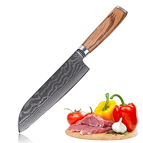 Amazon.com: xiuyang 7 inch Damasco Cuchillo De Chef 73 capas ...