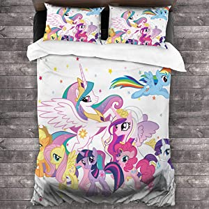 Aebipo My-Little Po-ny 3 Pieces Bedding Sets Queen Quilt Size 86x70 Inch£¬ 2 Pieces Pillowcase 20x30 Inch£¬100% Microfiber