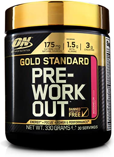 Optimum Nutrition Gold Standard Pre Workout Energy Drink Powder with Creatine Monohydrate, Beta Alanine, Caffeine and Vitamin B Complex, Watermelon, 30 Servings, 330 g