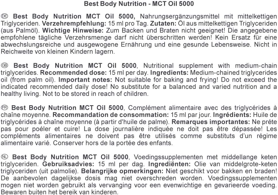 Best Body Nutrition 500ml MCT Oil 5000