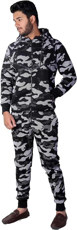 Mymixtrendz/® Uomo Autunno Inverno Camo Camouflage Stampa Zip up con Cappuccio Casual Sport Slim Fit Fleece Tuta Top Felpe con Cappuccio Joggers Bottoms