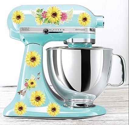 Phenomenal Amazon Com Watercolor Sunflower Kitchen Mixer Decals Interior Design Ideas Gresisoteloinfo
