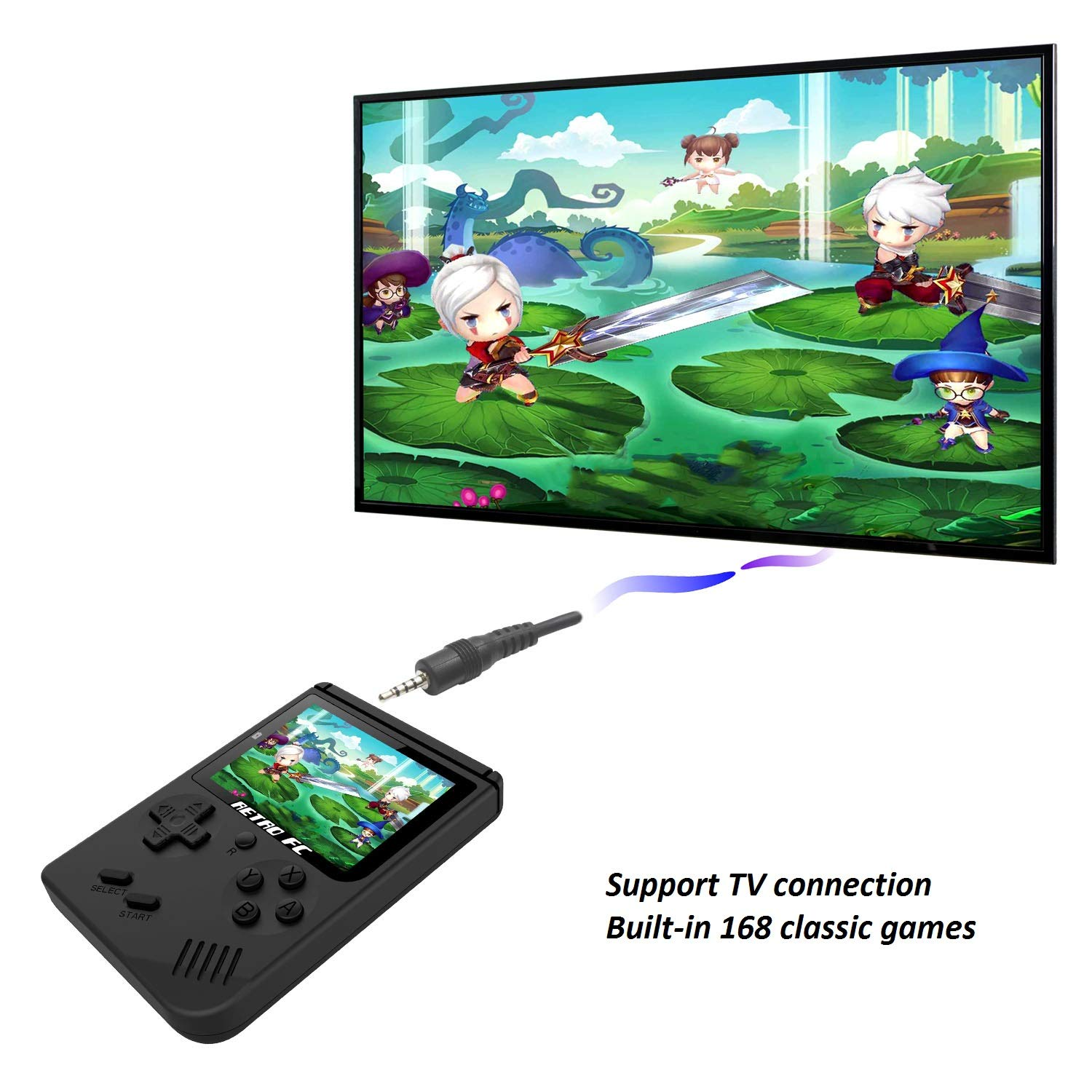 Handheld Game Console , Retro FC Game Console 3 Inch Screen 168 Classic Games TV Output Game Player , Birthday Present for Children - Black by MJKJ (Image #3)
