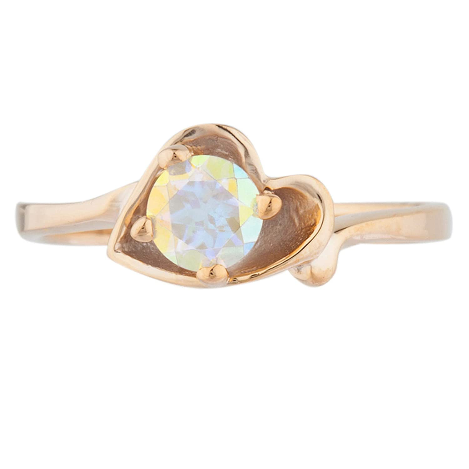 14Kt Rose Gold Plated Natural Mystic Topaz /& Diamond Round Ring