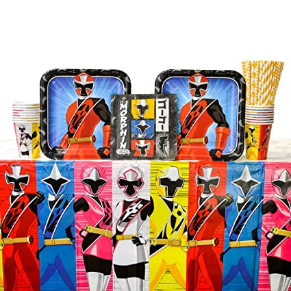 Power Rangers Ninja Steel Birthday Party Supplies Pack for 8 Guests | Straws, Lunch Plates, Luncheon Napkins, Cups, and Table Cover | Perfect Addition ...