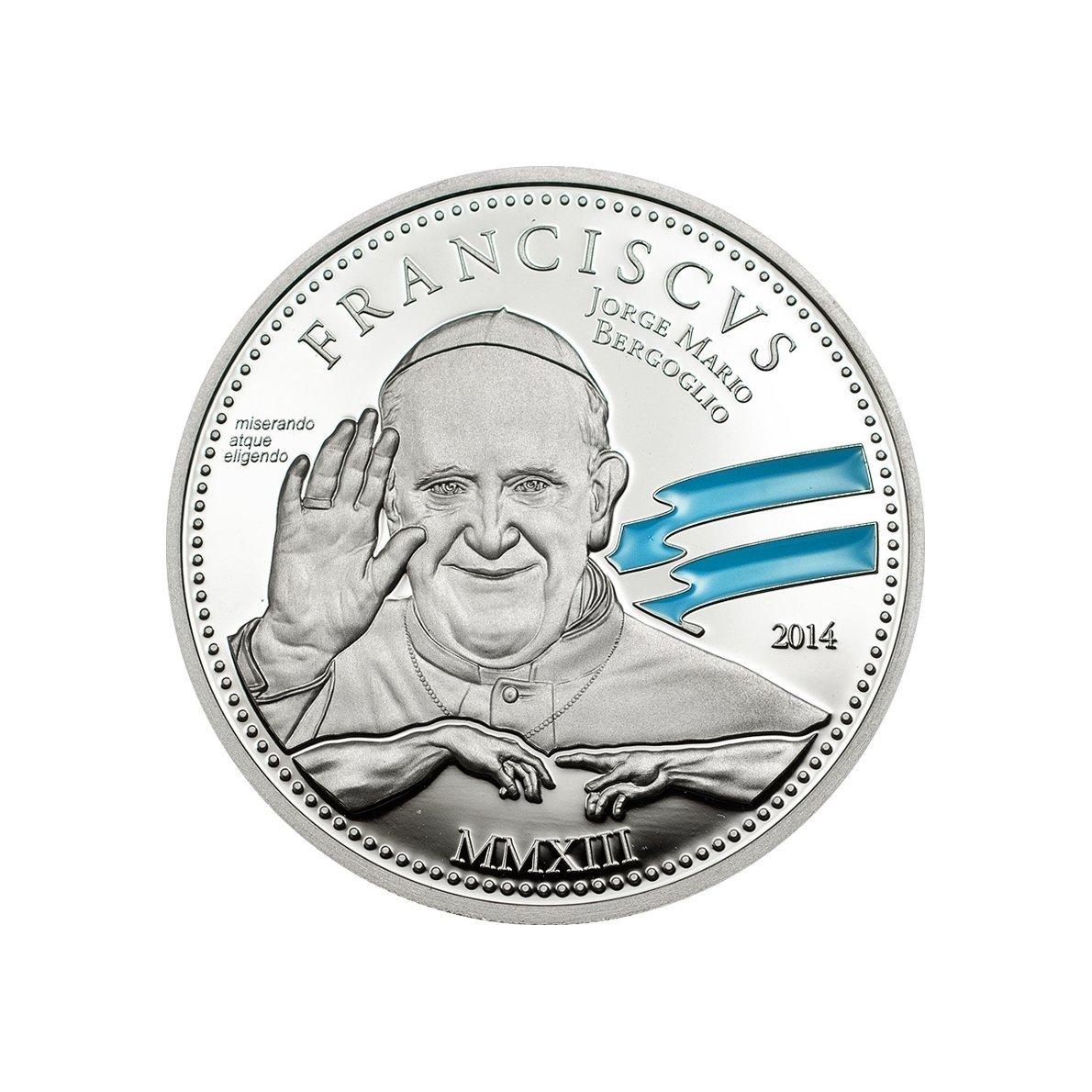 Papa Francisco 1ordm; Aniversario 2 Moneda Plata - Islas Cook 2014
