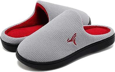VIFUUR Hombre Zapatillas de casa Espuma de Memoria de Alta Densidad Cálido Interior Lana al Aire Libre Forro de Felpa Suela Antideslizante Zapatos