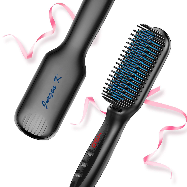 Hair Straightener Brush, Ionic Hair Straightening Brush with Anti-Scald and Auto Temperature Lock, PTC Ceramic Beard Hair Straightener Comb, Dual Voltage Hair Straightening Comb for Home and Travel by Jurgen K