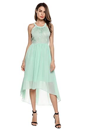 3eb76bb6bf96 Zeagoo Women s Summer Casual Chiffon Halter Neck Sleeveless A-Line Mid  Skater Dresses(Green