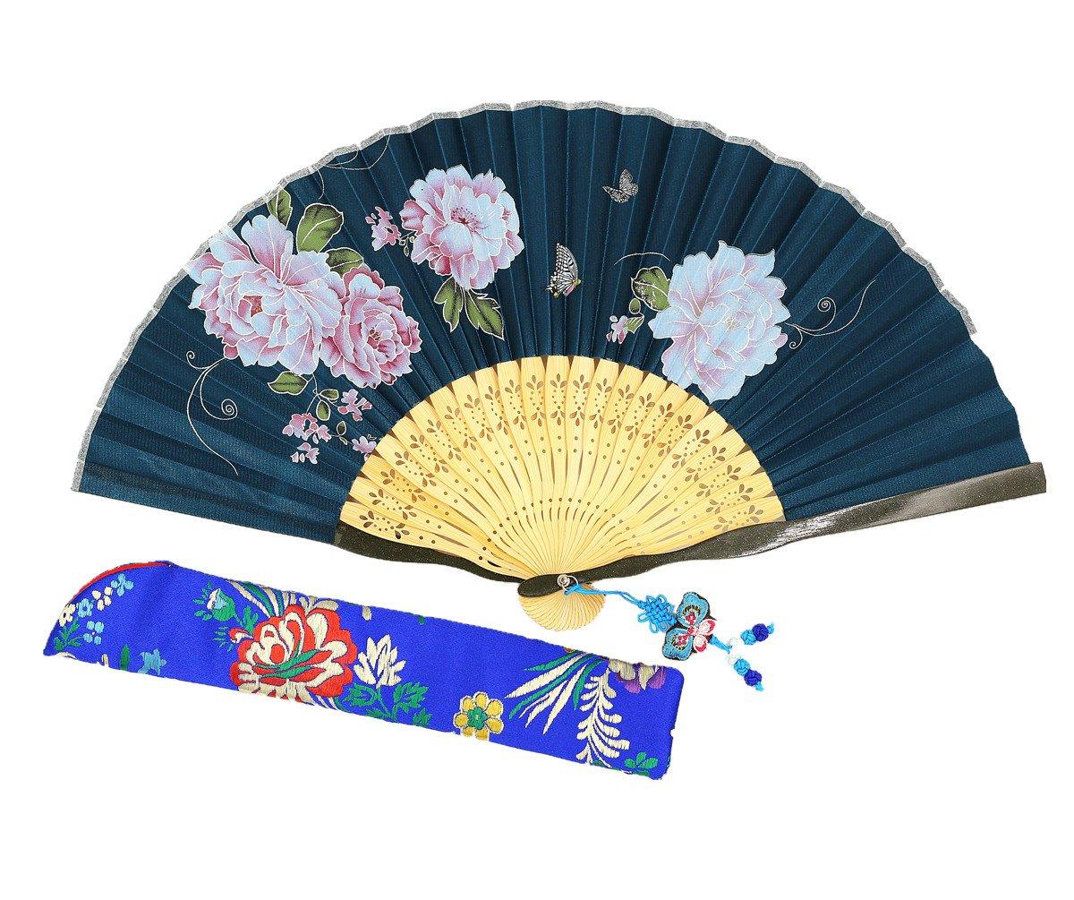 Wise Bird Chinese Fan Japanese Folding Hand Fan, Vintage Retro Style Fan 8'' Bamboo/Wood/Sandalwood Fan, Silk Fan Purse Fan, Wedding Favors, Home Decor Fan with Sleeve/Embroidery Tassel - F533