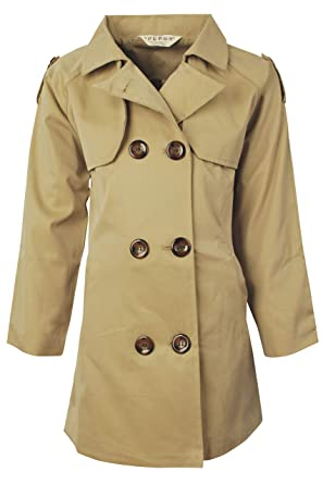 fcdd1edc8 Ipuang Girl's Cotton Long Sleeves Trench Jacket Dress Coats Camel Waterproof  6