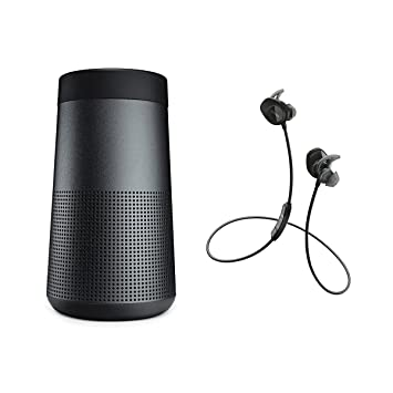 Bose SoundLink Revolve Altavoces & SoundSport Auriculares In-Ear inalámbricos – Bluetooth Bundle – Negro