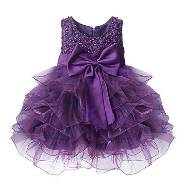 baby stores near me TIAOBU Baby Girls Flower Wedding Pageant Princess Bowknot Communion Party Dress Purple 9-12 Months
