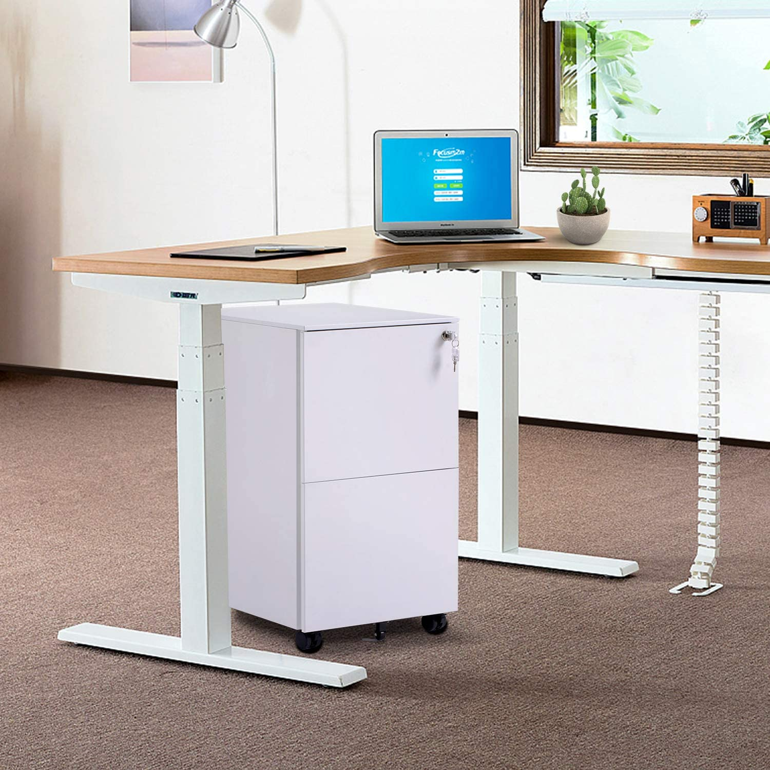 Fully Assembled Except Wheels//2 Drawer White Mobile File Cabinet with Lock,Metal Filing Cabinet for Legal//Letter//A4 Size