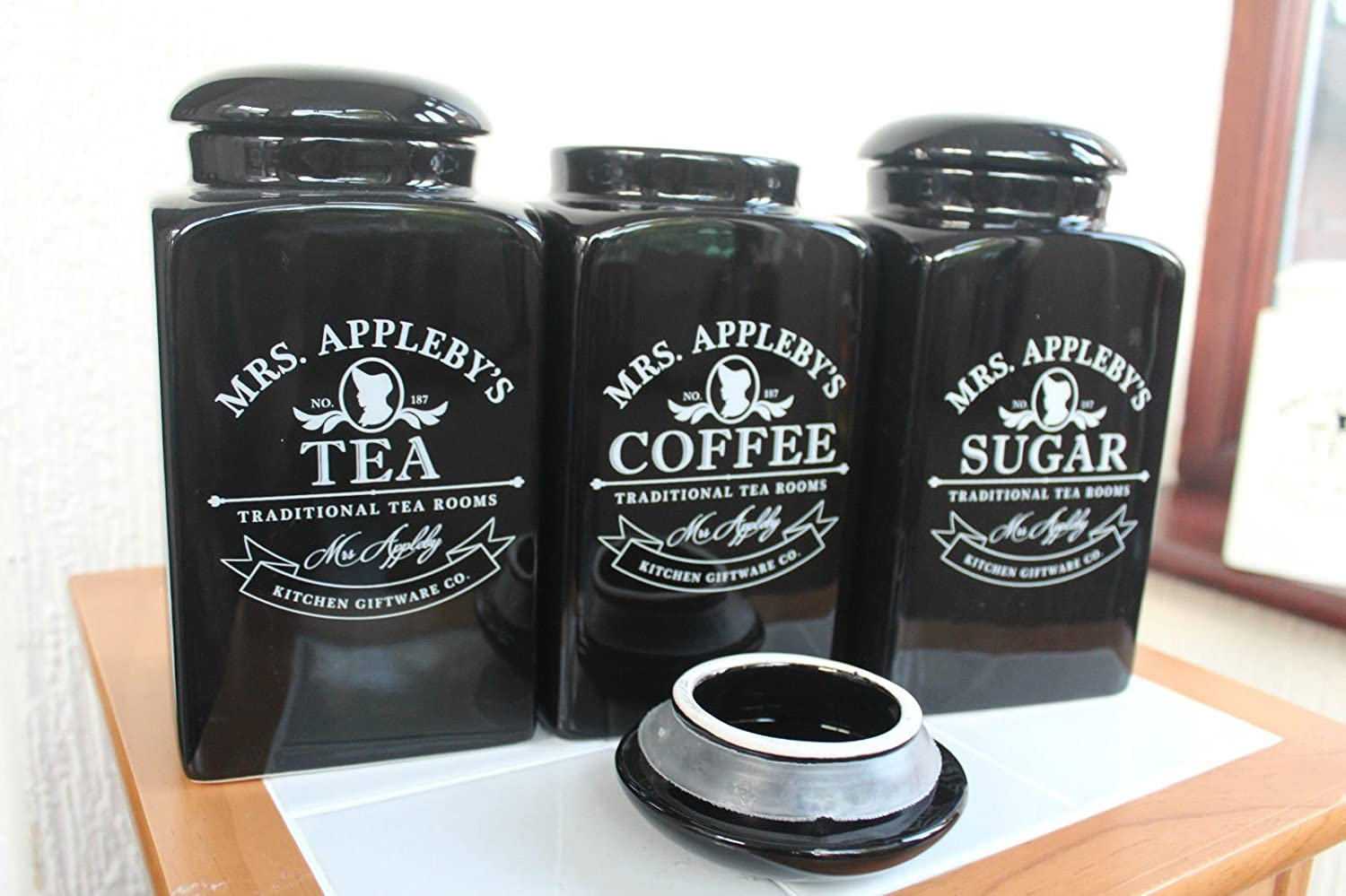 photo album black kitchen canisters all can download all guide new mrs appleby 3 black ceramic tea coffee sugar storage jars amazon kitchen