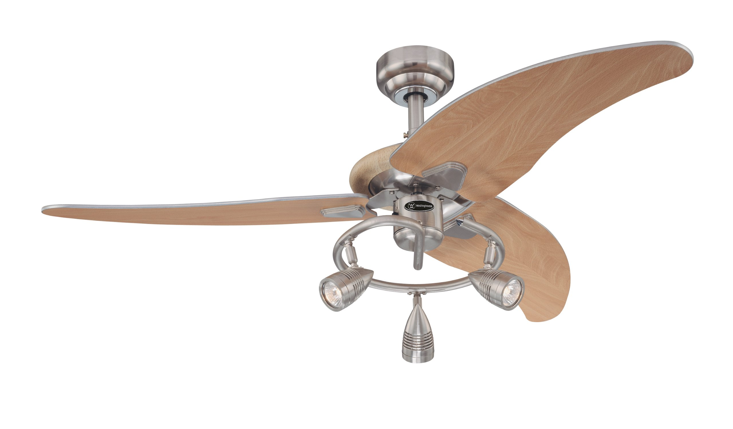 7850500 Elite 48-Inch Brushed Nickel Indoor Ceiling Fan, Light Kit with Three Spotlights by Westinghouse (Image #1)
