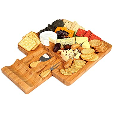 Cheese Board and Knife Set - Bamboo Serving Tray with Knives & Slate Labels - Large Wooden Meat Cheese Crackers Bread Charcuterie Cutting Platter - Hidden Knife Drawer - Entertaining Gift