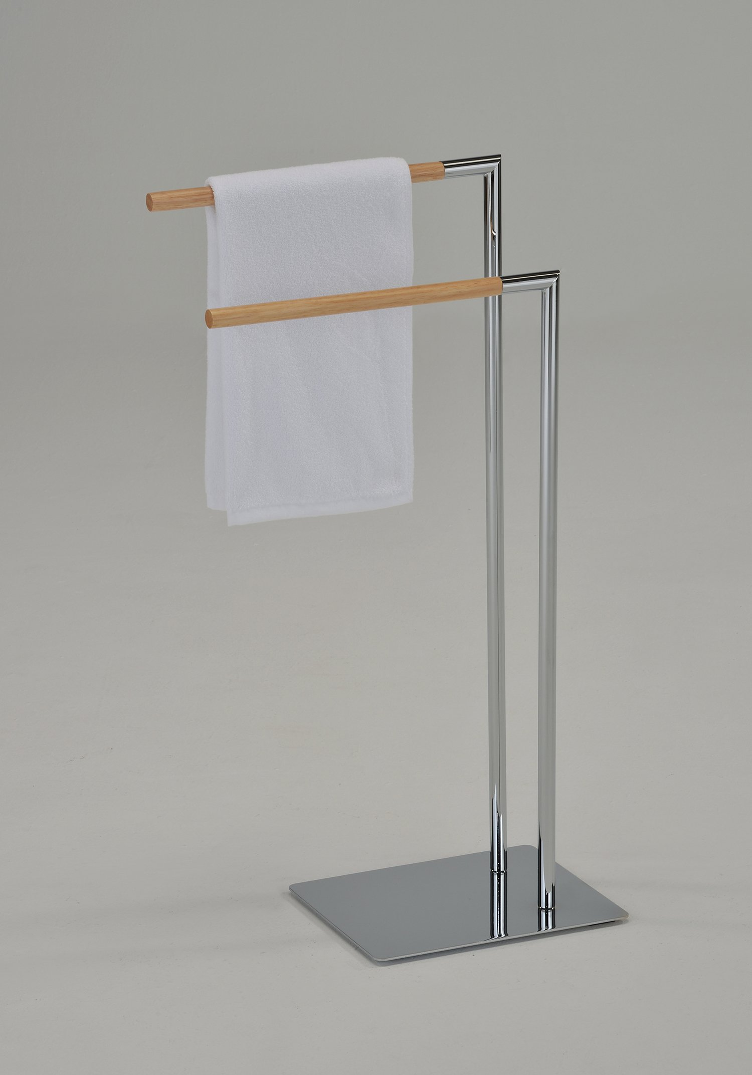 Kings Brand Chrome/Natural Finish Metal With Wood Towel Rack Stand