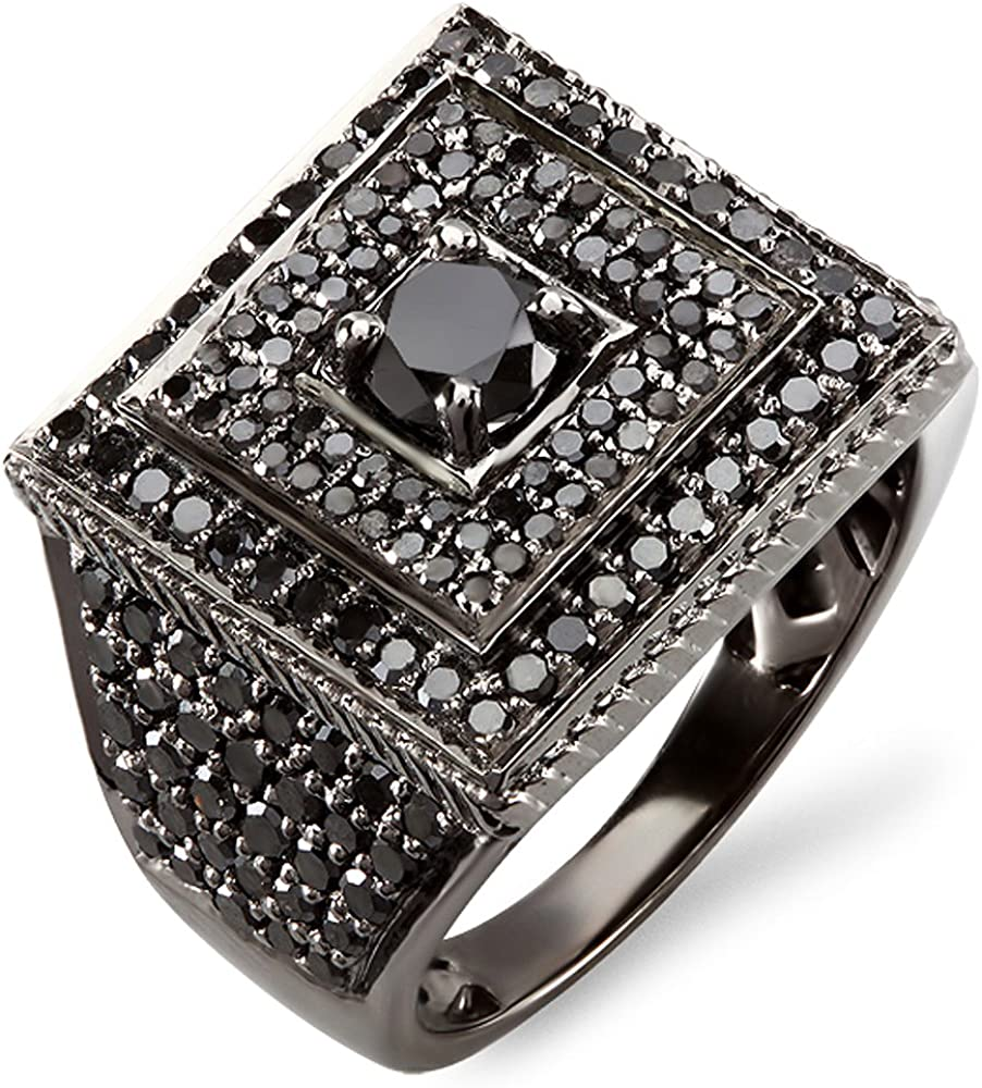 Dazzlingrock Collection 2.80 Carat (ctw) Black Rhodium Plated 10K Round Black Diamond Mens Ring, White Gold