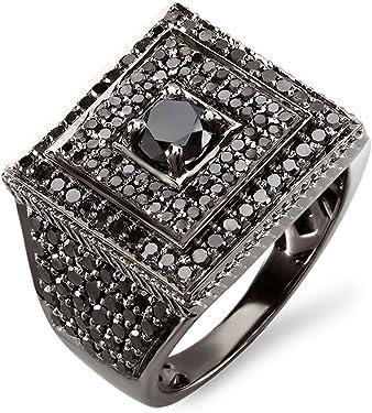 anillo negro con diamantes negros y bañado en rodio para hombre.