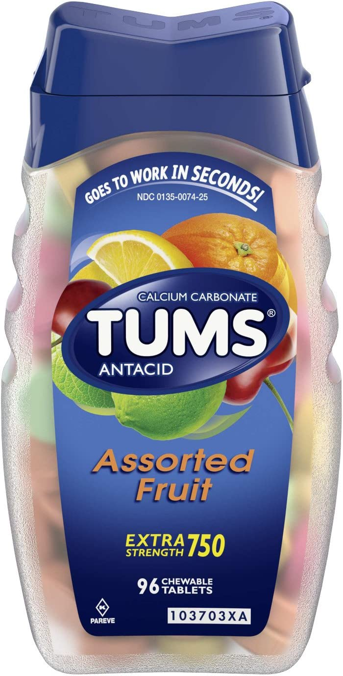 TUMS Antacid Chewable Tablets for Heartburn Relief, Extra Strength, Assorted Fruit, 96 Tablets: Health & Personal Care