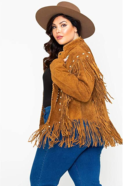 Liberty Wear Womens Bone Bead and Fringe Leather Jacket Plus 9713-Tobacco/_X