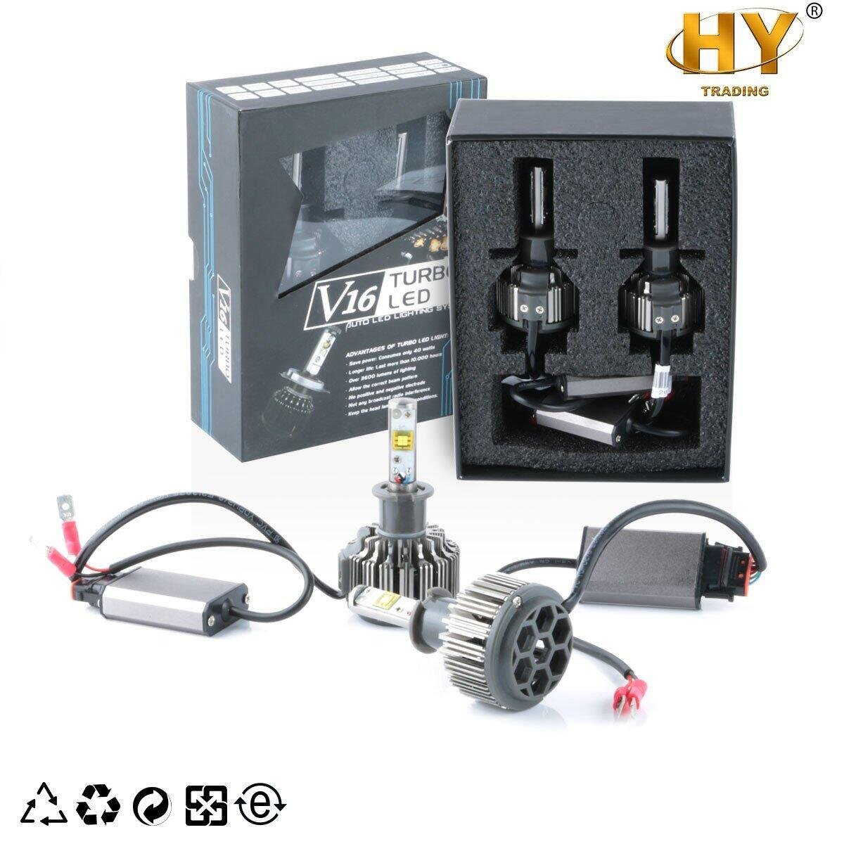 HY V16 LED Headlight Bulbs All-in-One Conversion Beam Kit, Car Lamp Replacement, 80W 9600LM Cool White 6000K 360 Degree Beam Angle, Water-proof IP68,Turbo Fan, H7,H1,H3 (H3)
