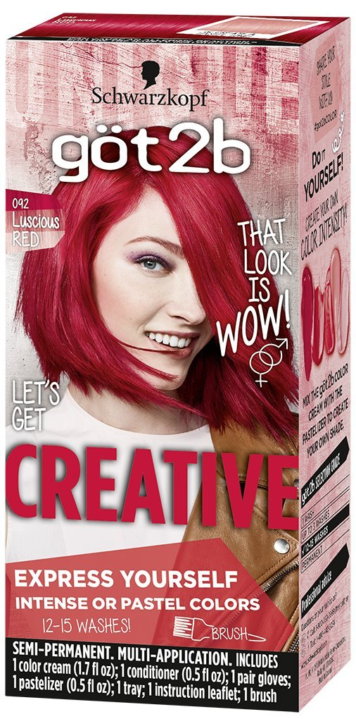 Got2b Creative Semi-Permanent Hair Color, 092 Luscious Red