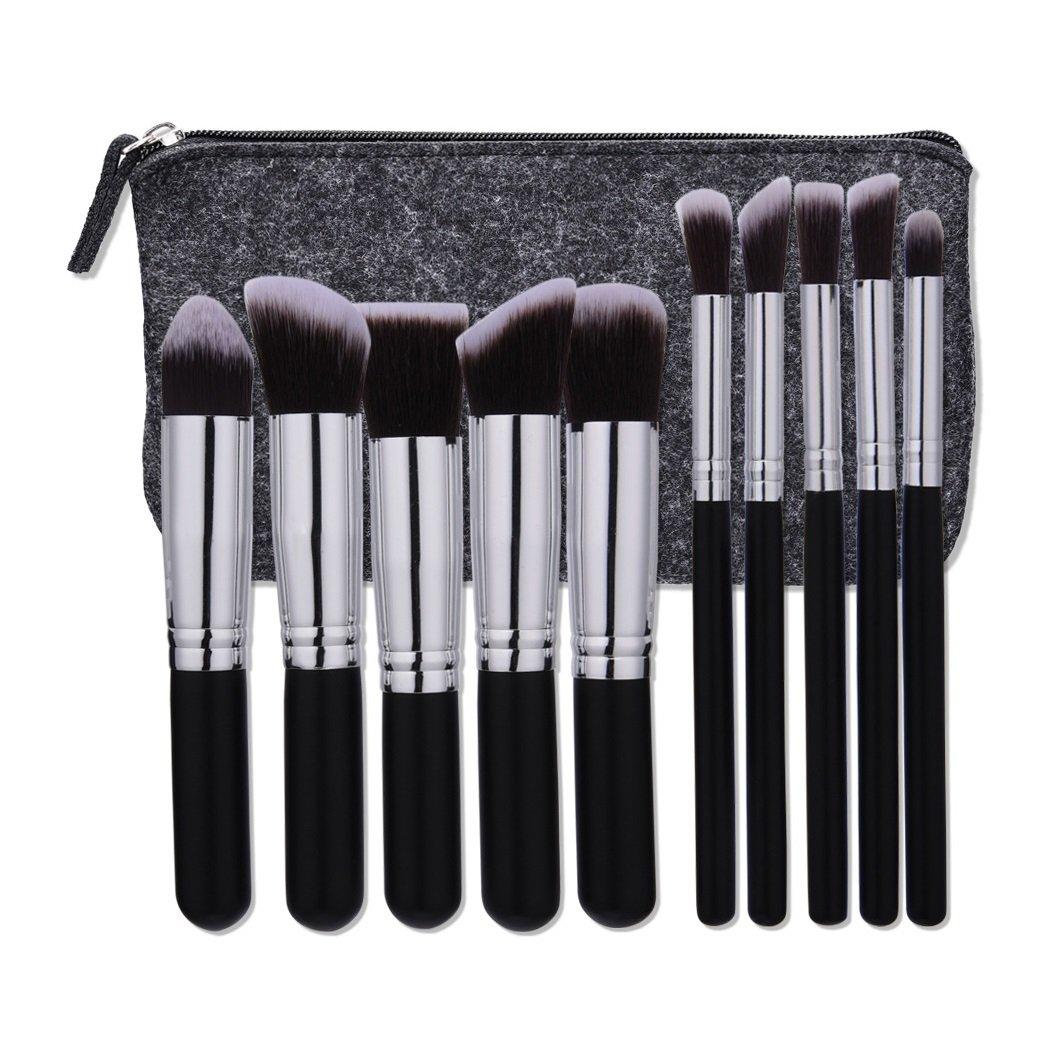 AMarkUp 10 Pcs Makeup Brushes Set Premium Synthetic Kabuki Powder Foundation Blush Brushes with Storage Bag (Black-silver) Vimbuy