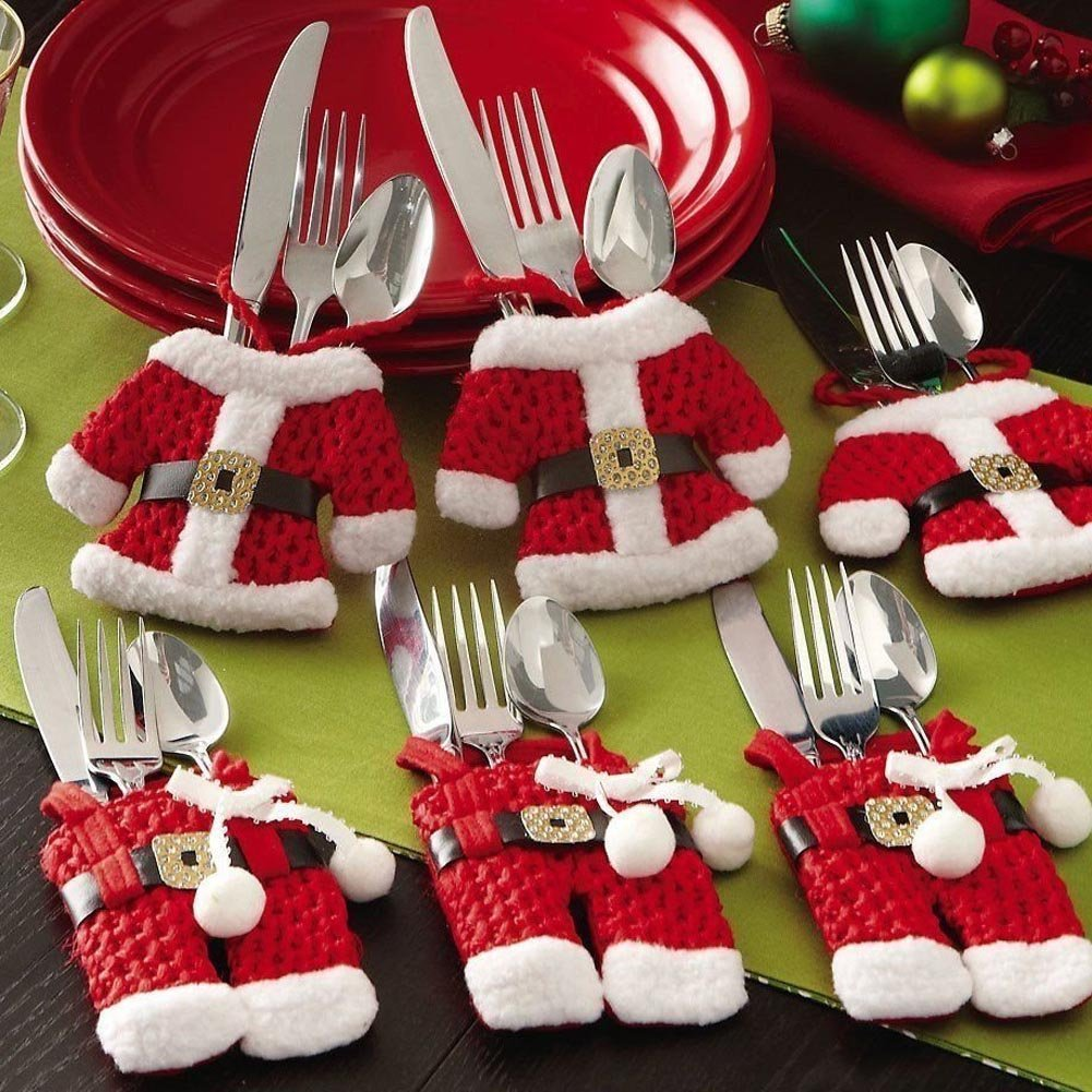 6pcs Santa Suit Christmas Cutlery Holders xmas Table Decoration ...