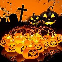 Herefun Halloween Luces de Cadena de Calabaza, 3M 20LEDs Calabaza Cadena de Luces Halloween, Halloween Guirnaldas…