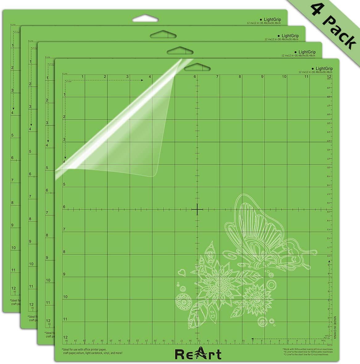 Tapete de corte de agarre ligero para Cricut para Silhouette Cameo 4 paquetes de 12 x 12 pulgadas – Tapete de corte adhesivo de repuesto, juego de alfombrillas de vinilo para manualidades: