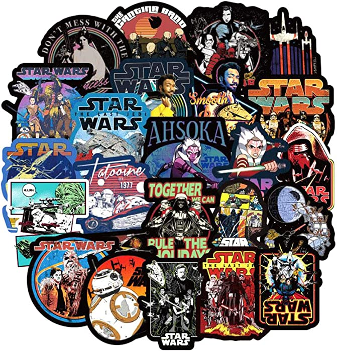 Computer Star Wars Stickers, Ratgoo 100 Pcs Movie Star War Stickers for Computer Laptop Phone Water Bottle Notebook Car Bike Bicycle Bumper Skateboard Luggage Guitar Kids and Adult Stickers