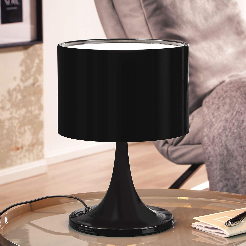 Design Tischleuchte TIL Metallschirm-Lampe Nachttischlampe Hochglanz Tischlampe schwarz Ø 25cm Metalllampe E27 bis 60W Leselampe 1-flammig IP20 HxBxT:37x25x25cm Schwarz